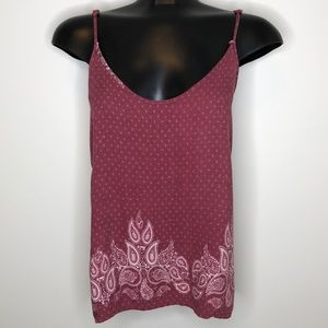 HARLOW burgundy paisley adjustable strap cami tank